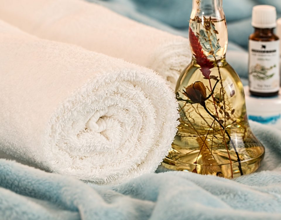 day spa towels and oil