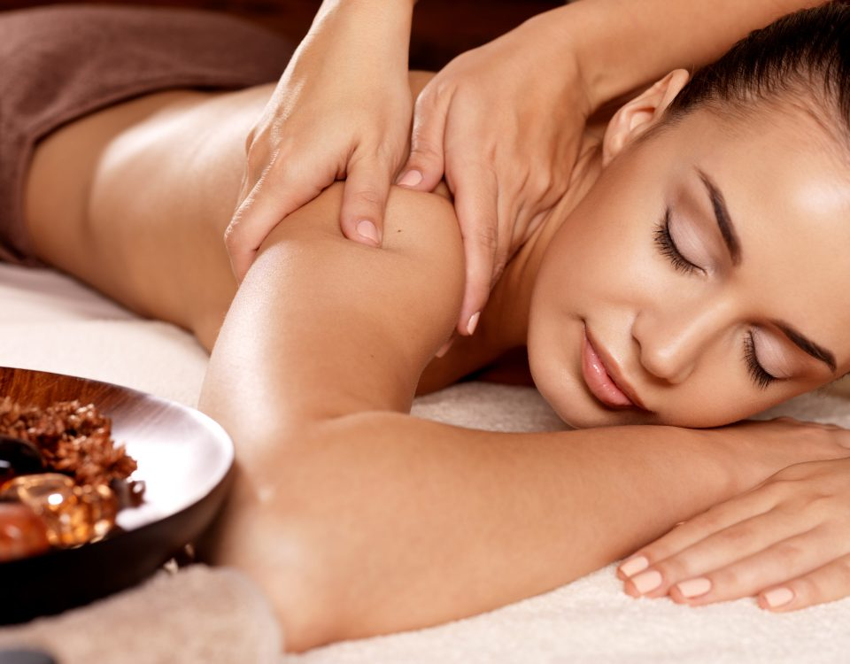 Woman having massage in a spa